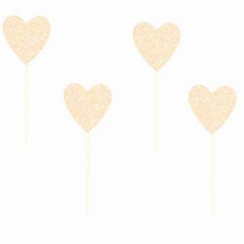 24 Pack Glitter Rose Gold Heart Cupcake Toppers