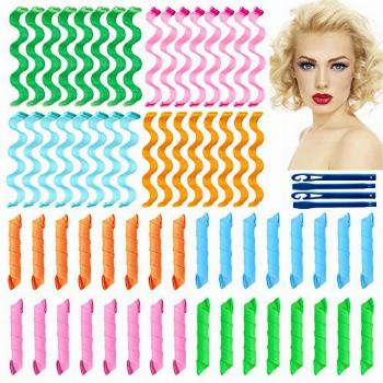 64Pcs Hair Curlers Spiral Curls No Heat Curlers Wave Formers