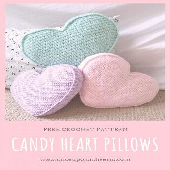 Candy Heart Pillow Crochet Pattern - This fun pillow looks like Valentine's conversation hearts.