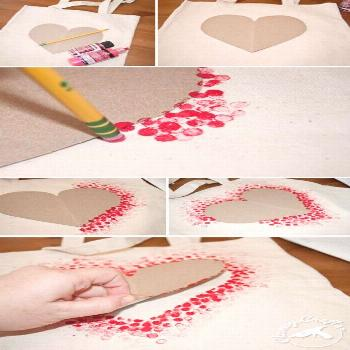 DIY Heart Tote Bag - So fun and easy! Great for adapt for so many other things too!