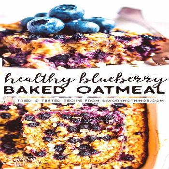 Easy and Healthy Blueberry Baked Oatmeal Recipe Blueberry Baked Oatmeal is an easy and healthy brea