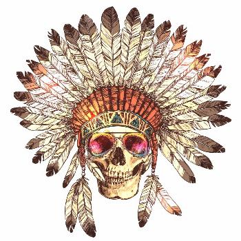 Hand Drawn Color Native American Indian Headdress With Human Skull And Fashion Sunglasses. Sketch H
