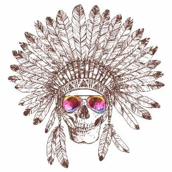 Hand Drawn Native American Indian Headdress With Human Skull And Fashion Sunglasses. Sketch Hipster