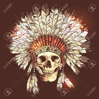 Hand Drawn Native American Indian Headdress With Human Skull. Vector Color Illustration Of Indian T