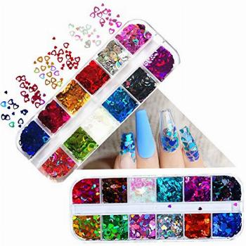 Heart Nail Glitter Sequins Set of 24 Boxes Holographic Heart