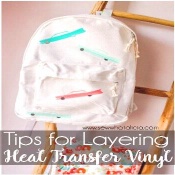 Heat Transfer Vinyl: create this adorable backpack by layering heat transfer vinyl. Click through f