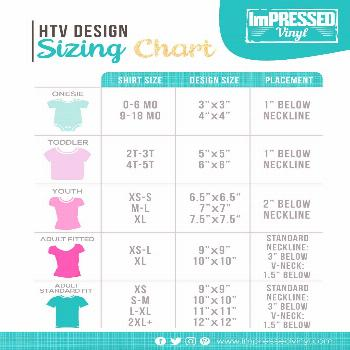 HTV Design Size and Placement Chart