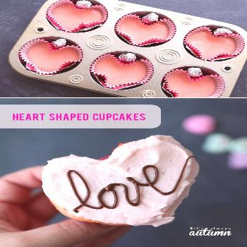 Learn how to make heart shaped cupcakes for Valentine's Day! Fun, easy Valentine's day treat, no sp