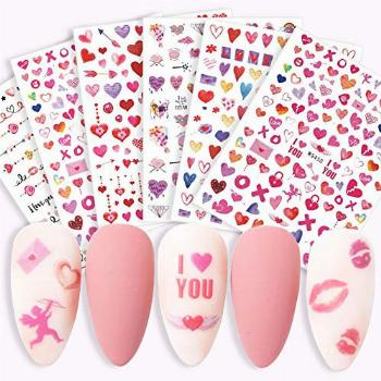 Love Heart Nail Art Stickers Decals Valentines Day Nail