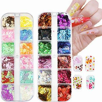 Nail Art Hearts Glitter 24 Colors Holographic Sparkly Mixed