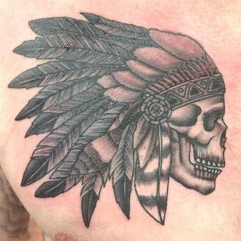 Native American headdress with skull tattoo by Travis Wasko in black and grey. ,  Native American h