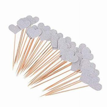 Sincerely gift 36pcs Heart Cupcake Toppers Twinkle Silver