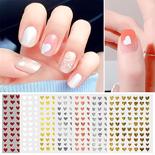 Flyouthe Laser 3D Heart Nail Art Stickers Self-Adhesive DIY