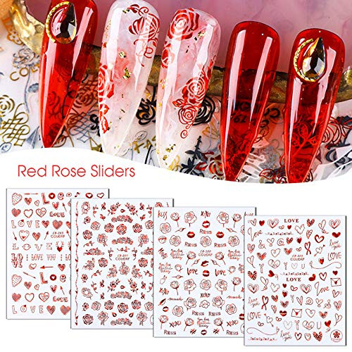 Flyouthe Rose Love Heart Nail Art Stickers 3D Laser